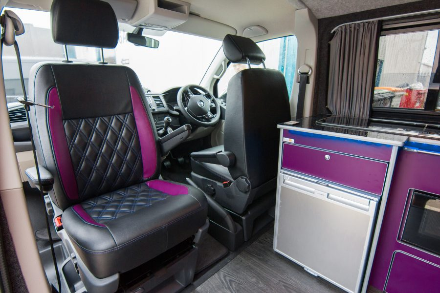 VW Van Conversion - Purple & Black Swivel Chairs