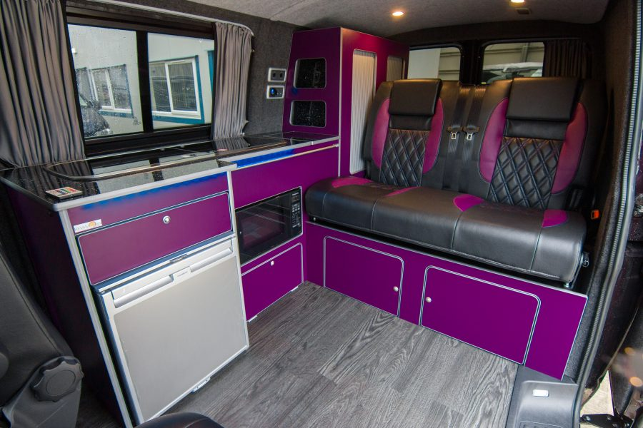 VW Van Conversions - Purple & Black Rib Seats