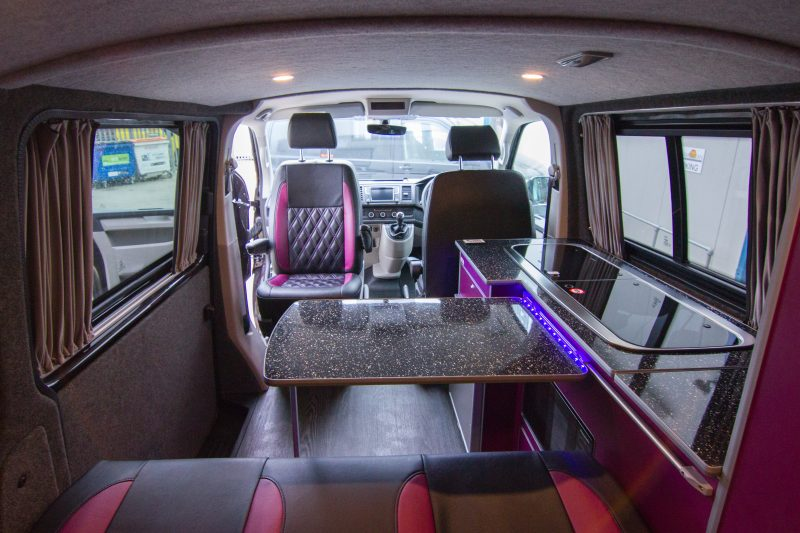 VW Van Coversion - Black & Purple Table and Chairs