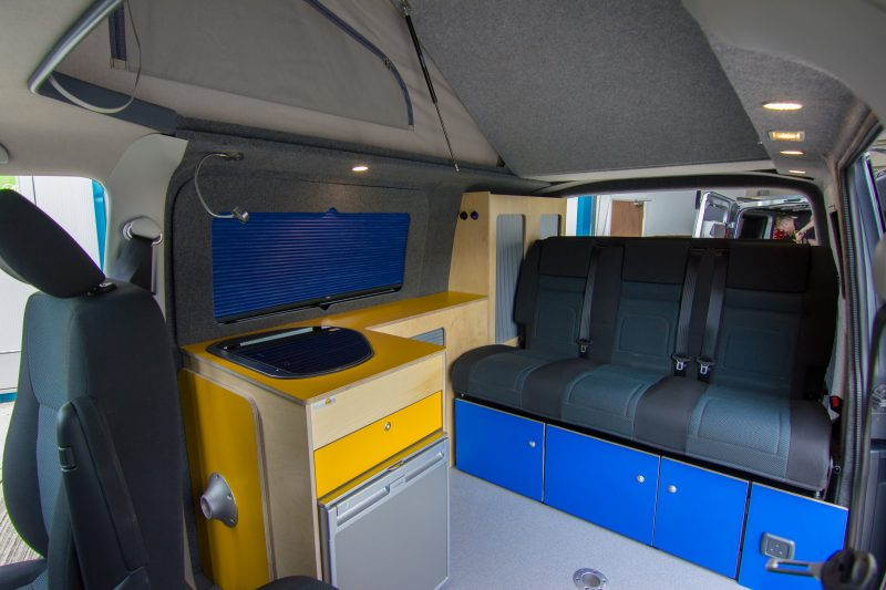 VW Van conversion yellow and blue interior